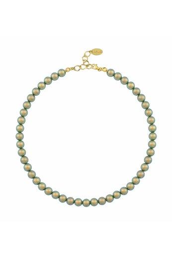 Perlenhalskette grün - 925 Silber 24K vergoldet - ARLIZI 1172 - Noa - 8mm