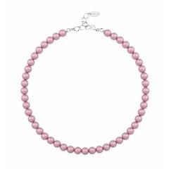Perlenhalskette rosa 8mm - Silber - 1173