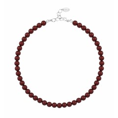 Pearl necklace red 8mm - silver - 1169