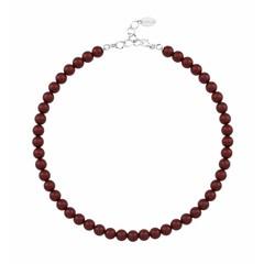 Perlenhalskette rot - 925 Silber - 1169