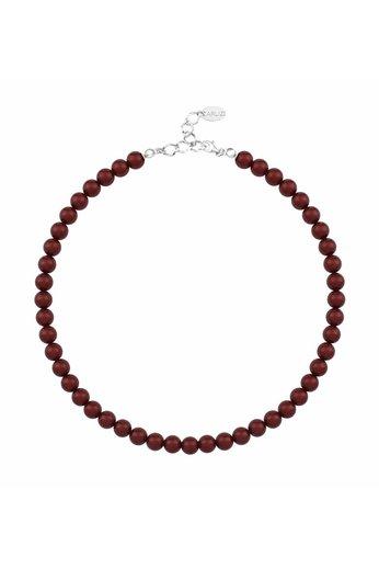 Perlenhalskette bordeaux rot - 925 Silber - ARLIZI 1169 - Noa - 8mm