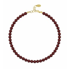 Pearl necklace red - silver gold plated - 1170