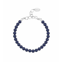 Parel armband blauw 6mm - zilver - 1144