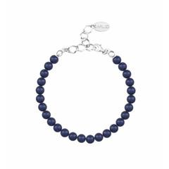 Perlenarmband blau 6mm - 925 Silber - 1144
