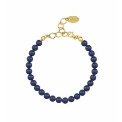 Pearl bracelet blue 6mm - silver gold plated - 1145