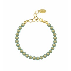 Parel armband groen 6mm - verguld zilver - 1151