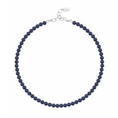Pearl necklace blue 6mm - silver - 1189