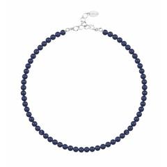 Perlenhalskette blau 6mm - Silber - 1189