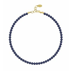 Pearl necklace blue - silver gold plated - 6mm - 1190