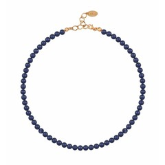 Pearl necklace blue - silver rose gold plated - 6mm - 1191