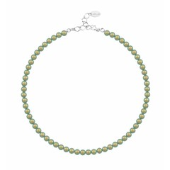 Pearl necklace green 6mm - silver - 1194