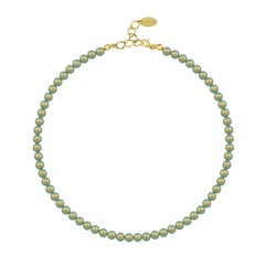 Pearl necklace green - silver gold plated - 6mm - 1195