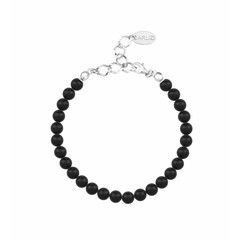 Pearl bracelet black 6mm - silver - 1135
