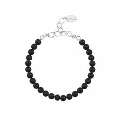Perlenarmband schwarz 6mm - Silber - 1135