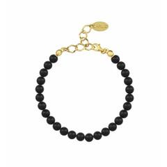 Perle Armband schwarz 6mm - Silber vergoldet - 1136