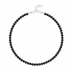 Pearl necklace black 6mm - silver - 1175