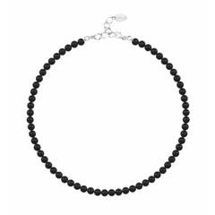 Perlenhalskette schwarz 6mm - Silber - 1175
