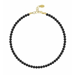 Pearl necklace black - silver gold plated - 6mm - 1176