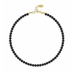 Perlenhalskette schwarz - Silber vergoldet - 6mm - 1176
