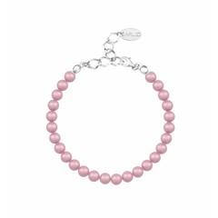 Parel armband roze 6mm - sterling zilver - 1149