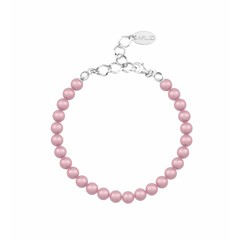Pearl bracelet powder rose 6mm - silver - 1149