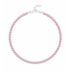 Perlenhalskette rosa 6mm - Silber - 1196