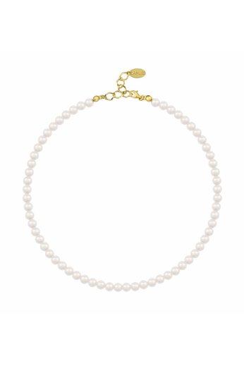 Perlenhalskette weiß - 925 Silber 24K vergoldet - ARLIZI 1179 - Noa - 6mm