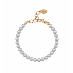 Pearl bracelet grey 6mm - silver rose gold plated - 1140