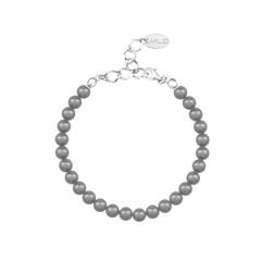 Perlenarmband grau 6mm - 925 Silber - 1141