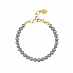 Pearl bracelet grey 6mm - silver gold plated - 1142