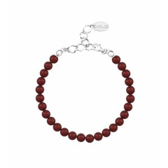 Parel armband rood 6mm - zilver - 1147