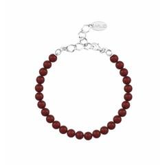 Perlenarmband rot 6mm - Silber - 1147