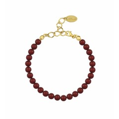Parel armband rood 6mm - verguld zilver - 1148