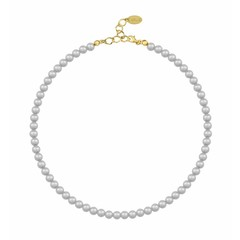 Pearl necklace grey 6mm - silver gold plated - 1184