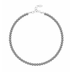 Perlenhalskette dunkelgrau - 925 Silber - 6mm - 1186