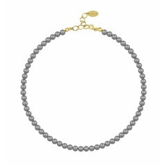 Pearl necklace dark grey - silver gold plated - 6mm - 1187