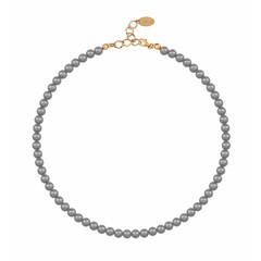 Pearl necklace dark grey - silver rose gold plated - 6mm - 1188