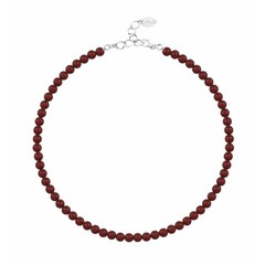 Pearl necklace red 6mm - silver - 1192