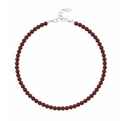 Perlenhalskette rot 6mm - Silber - 1192