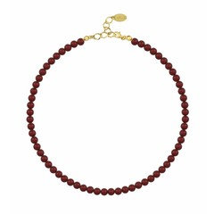 Pearl necklace red 6mm - silver gold plated - 1193