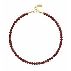 Perlenhalskette rot - Silber vergoldet - 6mm - 1193