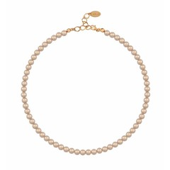 Pearl necklace 6mm - silver rose gold plated - 1197