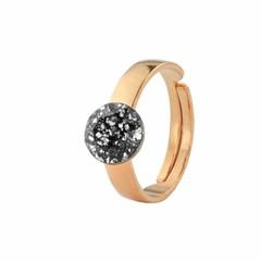 Ring zwart kristal - zilver rosé verguld - 1312