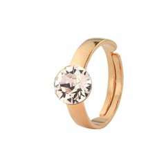 Ring champagne crystal - silver rose gold plated - 1309