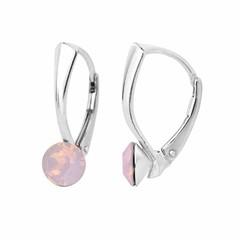 Oorbellen roze opaal kristal 6mm - zilver - 1452