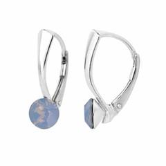 Oorbellen blauw opaal kristal 6mm - zilver - 1453
