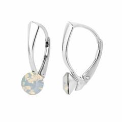 Earrings white opal crystal 6mm - silver - 1454