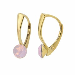 Earrings pink opal crystal 6mm - gold plated silver - 1455