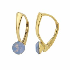 Earrings blue opal crystal 6mm - gold plated silver - 1456