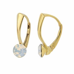 Earrings white opal crystal 6mm - gold plated silver - 1457